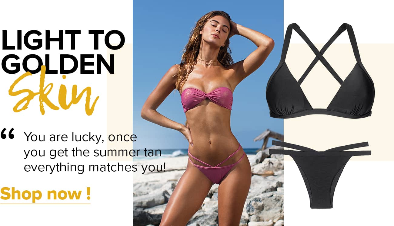 What bikini colorbest suits light to golden skin?
