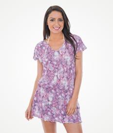 Розово-фиолетовое пляжное платье свободного покроя из мягкой ткани - PONTALINA