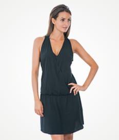 Черное пляжное платье с запахом - ENVELOPE PRETO