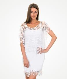Λευκό αμάνικο, διάτρητο φόρεμα παραλίας - RAGATA BRANCO