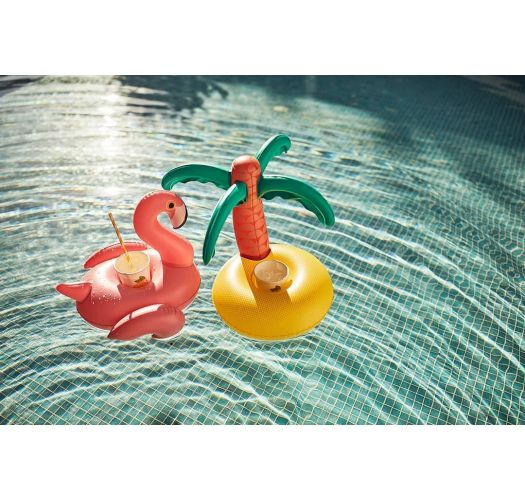 Pink flamingo and palm tree cup-holder pool floats - FLOAT FUN TROPICAL