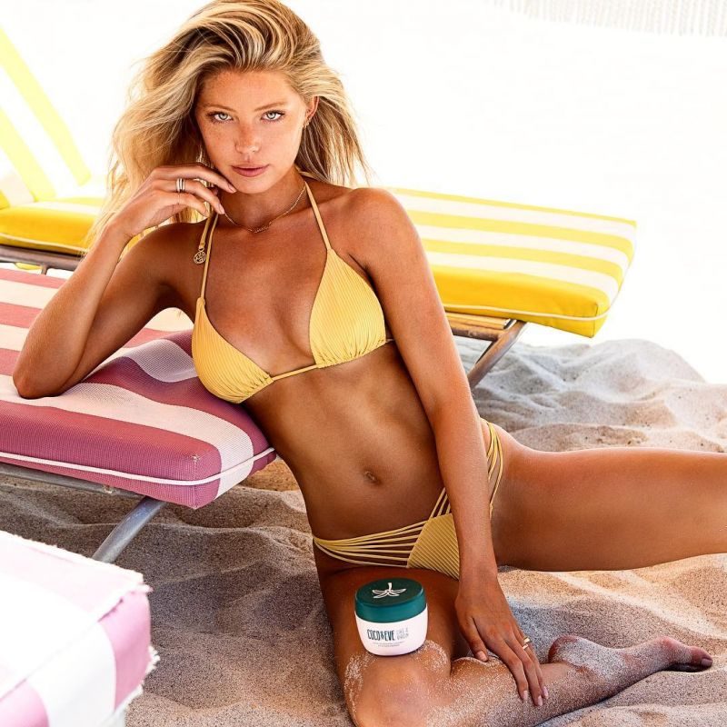 Yellow crop top bikini with strappy bottom - RUCHED BANANA COSTA DEL SOL