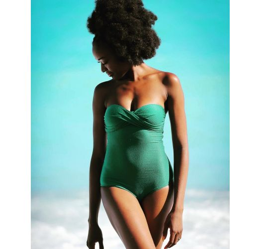 Green textured draped bandeauone-piece swimsuit - DUNA GREEN ONE PIECE