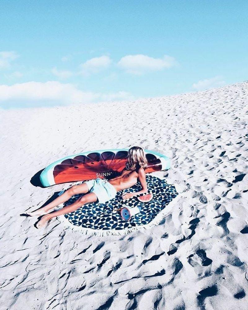 Marinblå och vit rund strandhandduk - ROUND TOWEL ANDAMAN