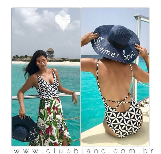 Retro print plunging neckline one-piece swimsuit - MAIO FIDJI