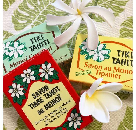 Plant-based soap with 30% Tahitian monoi, coconut fragrance - TIKI SAVON TIARE TAHITI COCO 130g