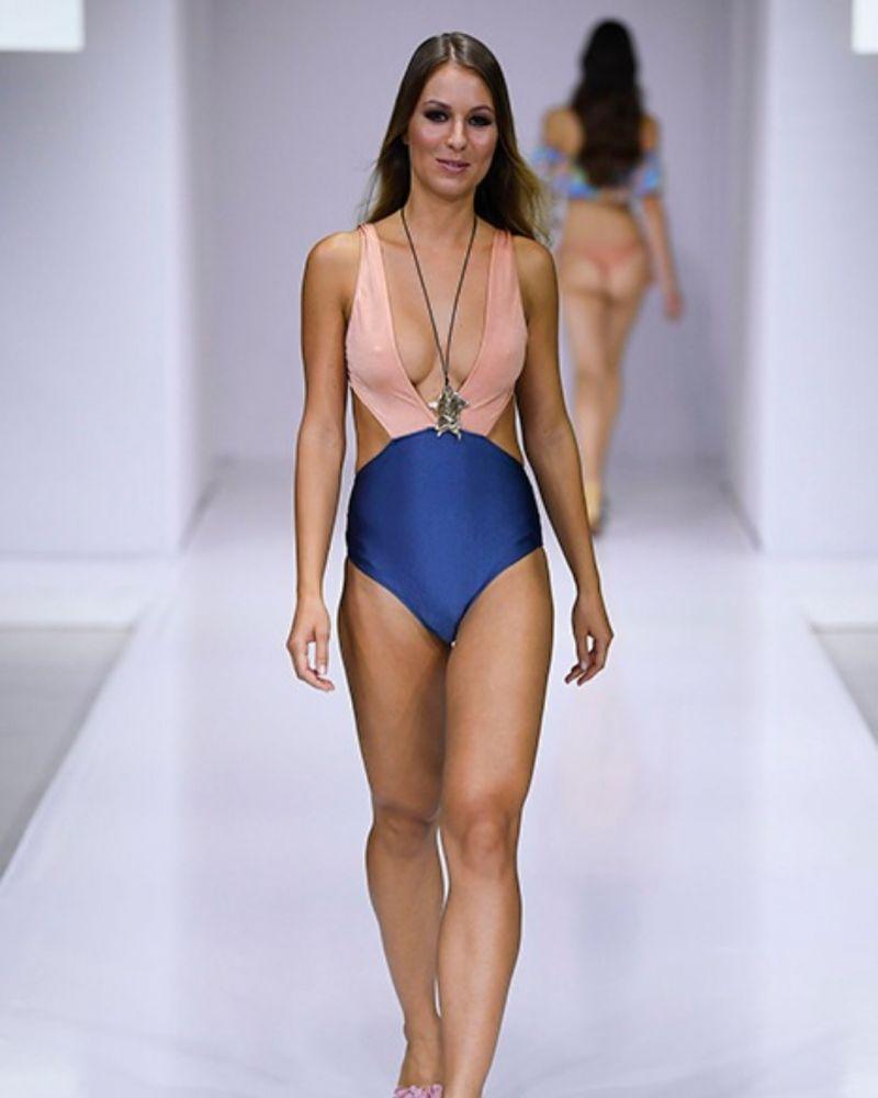 Persikorosa/skifferfärgad brasiliansk trikini med hög midja - TRIKINI  ROSE BLUE