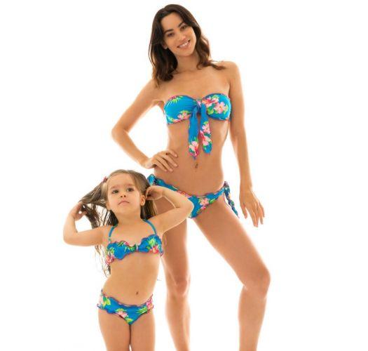 Blomstret bandeau bikini til piger - HOOKERI GIRL