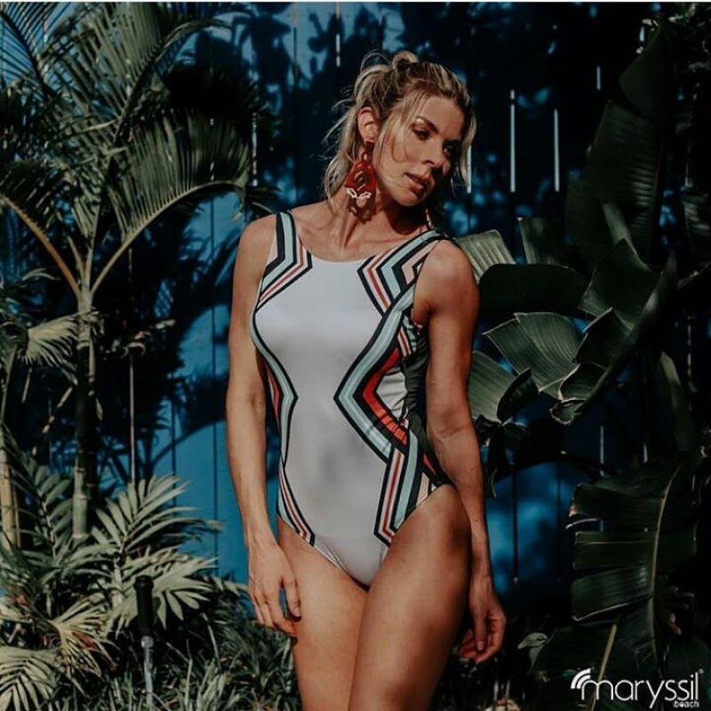 Geometric print one-piece swimsuit with khaki back - BODY GEOMETRICO