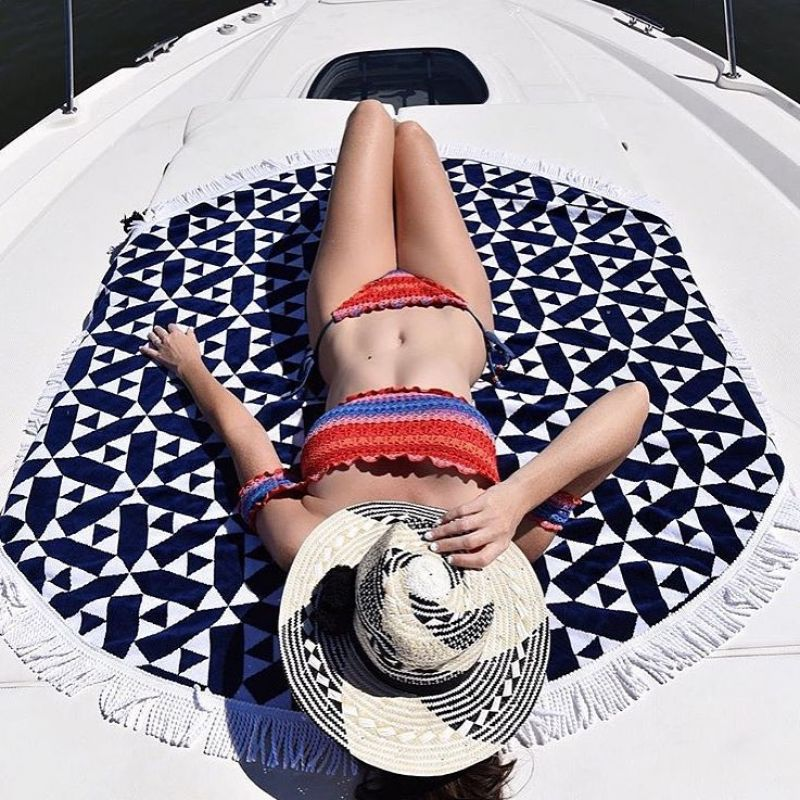 Navy blue & white round beach towel - ROUND TOWEL ANDAMAN