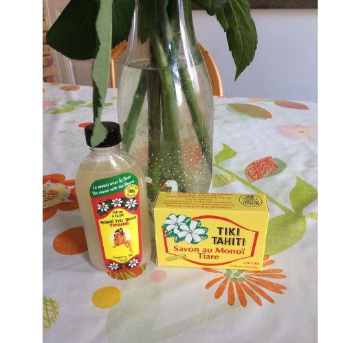 Tairé flower scented vegetable soap with 30% monoi -  TIKI SAVON TIARE 130g