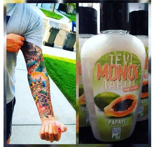 Papayascented Tahiti monoï, tattooed bottle - MONOI GOURMAND PAPAYE 125ML