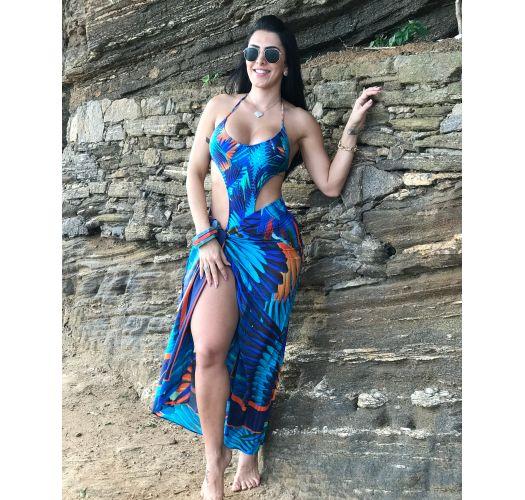 Brazilian monokini in colorful tropical print - STOP ARARUNA