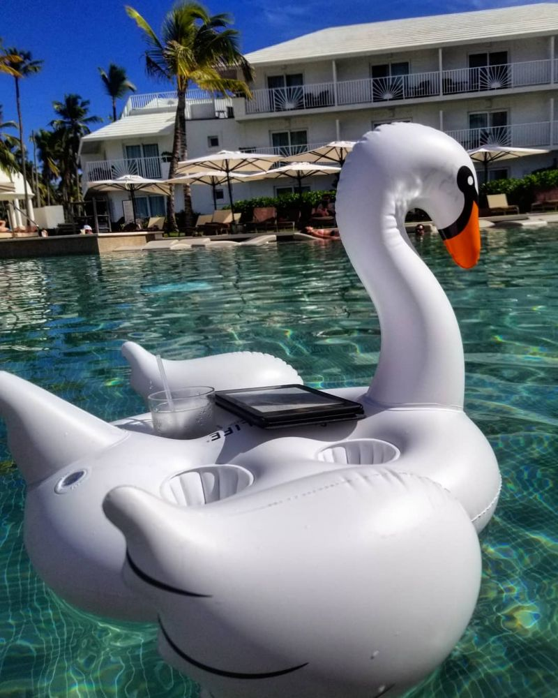 Inflatable floating cup holder - swan - GROOVY SWAN PEARL
