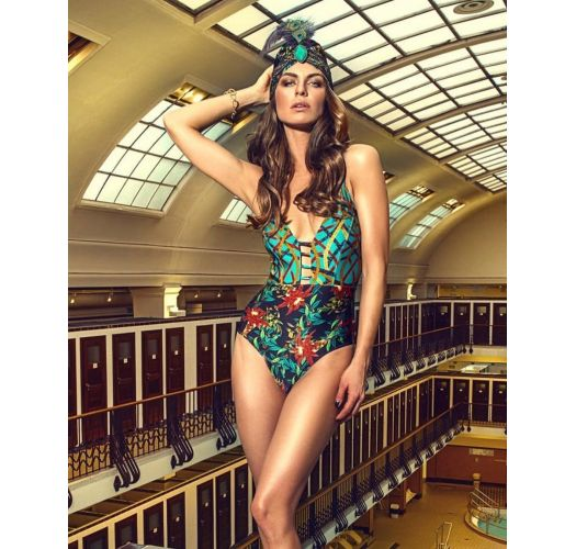 One-piece swimsuit with a strappy V neckline - STRAPPY MOSAIC