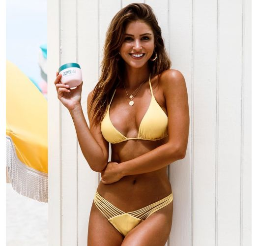 Triangle yellow Brazilian bikini with scrunch bottom - SEAMLESS BANANA COSTA DEL SOL