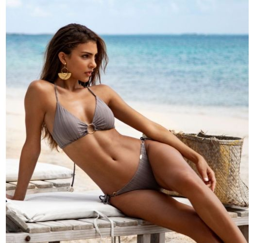 Triangle grey bikini with rings and scrunch bottom - SEAMLESS GREY TURI TURAI