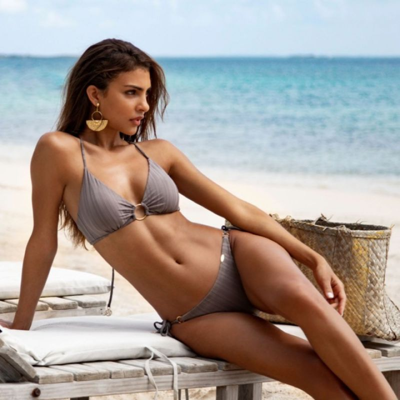 Grey bikini top with crossed back and ring detail - TOP RING GREY TURI TURAI