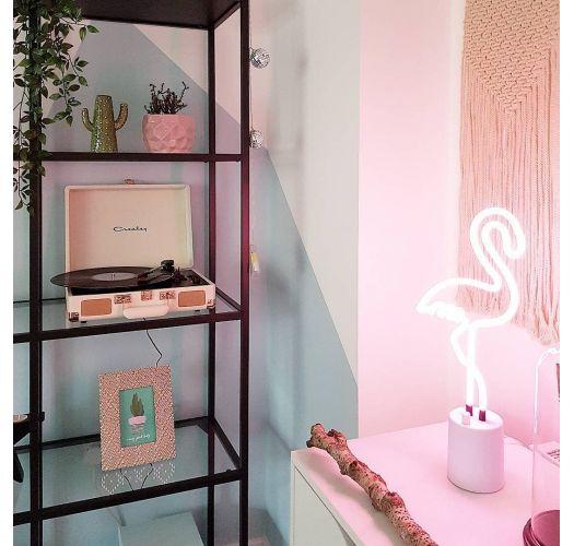 Small pink flamingo shaped neon table lamp - FLAMINGO NEON LIGHT SMALL