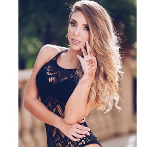 Black one-piece swimsuit with openwork and lace effect - CHARMING OP BLACK
