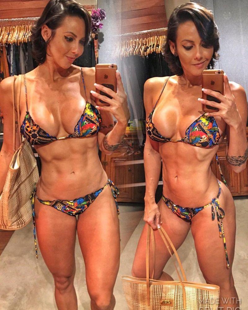 Tropical print scrunch bottom bikini with scallop trim detail - VENEZA