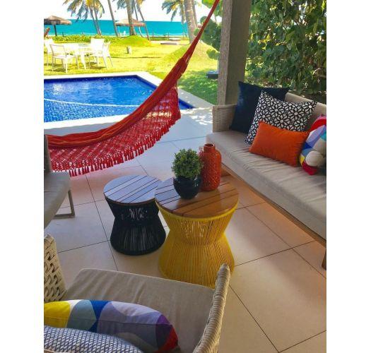 Cotton hammock with braided fringes 4M x 1,6M - XINGU TR VERMELHA