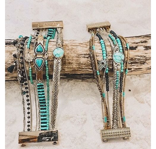 Golden cuff with turquoise stones, and hand of Fatma rhinestone - DIWALI TURQUOISE HIPANEMA