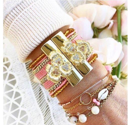 Pink/gold-coloured bead cuffjewel clasp - HIPANEMA ETERNITY PINK