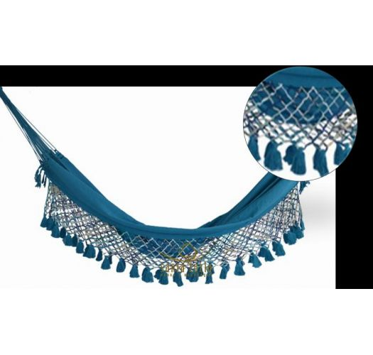 Blue denim hammock with macrame edges 4M x 1,6M - SOL A SOL LMC AZUL