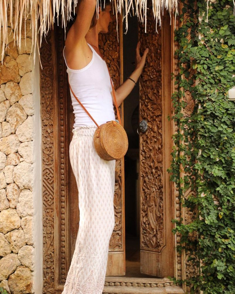 Round shoulder bag in natural rattan - BALIBAG NATURAL
