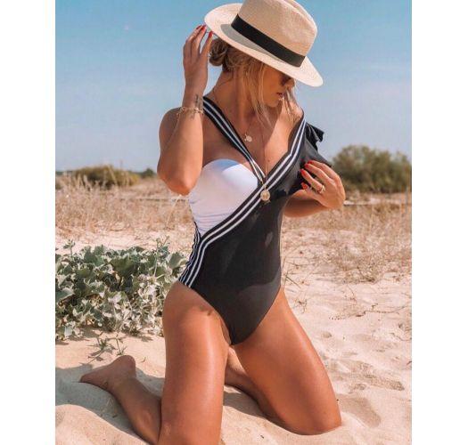 Schwarz/weißer asymmetrischer Badeanzug - BODY P&B