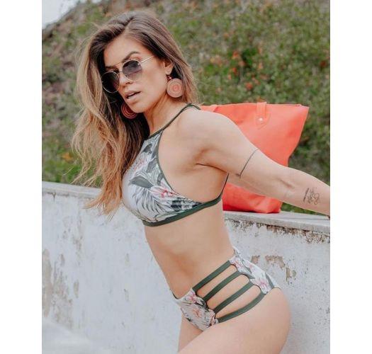 High-waist bikini with khaki side-stripes - CROPPED FLOR DE KAKI