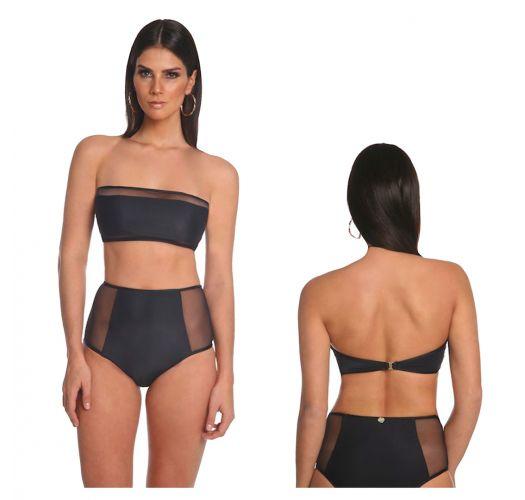 Bandeau-Bikini, schwarz, Transparenzdetail - FAIXA COM TULE