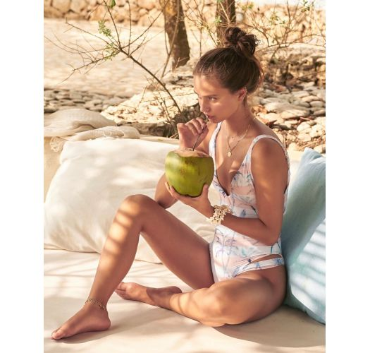 1 piece plunging swimsuit in tropical pastel print - MAIO CALI PALMS