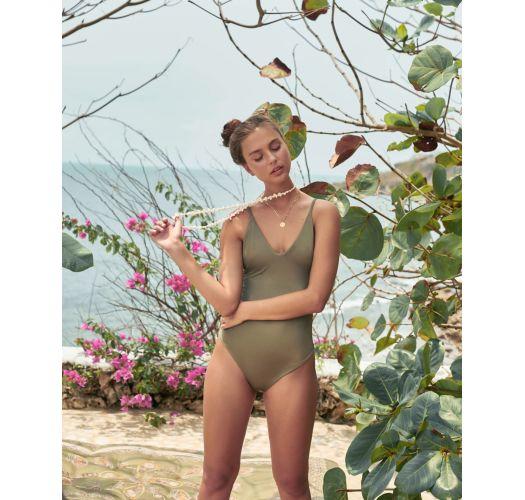 Green khaki iridescent fabric 1 piece swimsuit - MAIO SPARKLY GREEN