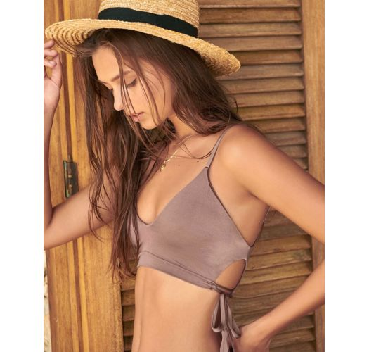 Iridescent taupe bikini with decorative cutouts - PACIFIC SPARKLY TAUPE