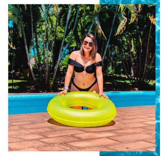 Satinsvart crop topp bikini - i Bardot stil - BLACK LISOS