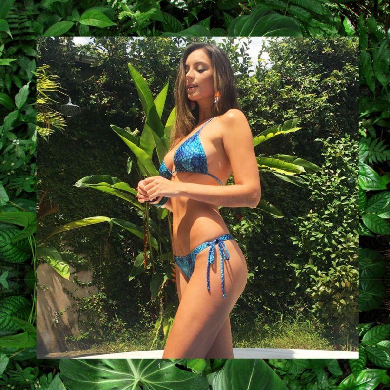 Blue scrunch Brazilian bikini in snake skin - SERPENTE BLUE