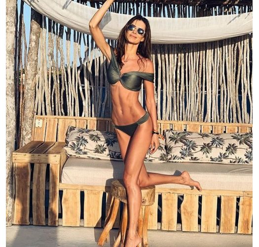 Army green crop top bikini - Bardot style - GREEN LISOS