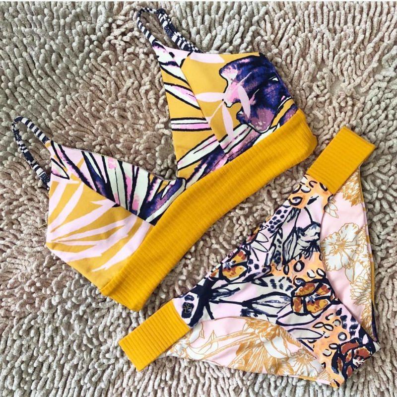 Gul texturerad bh-bikini - SUN BASS SAMBA