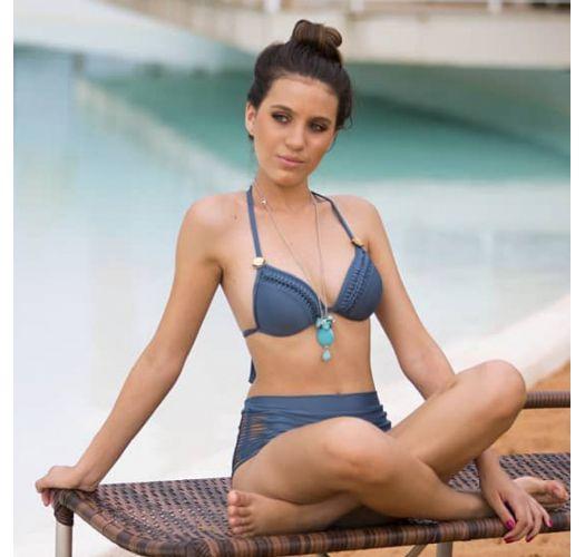 Dunkelblauer wattierter Bikini, Flechtdetails - TOP TRESSE ELEGANCE