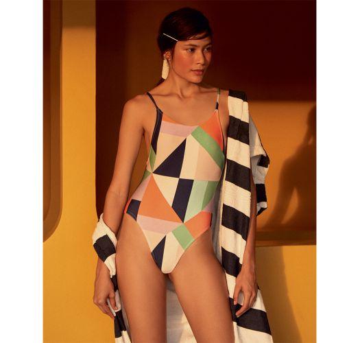 Geometric print runway swimsuit with slim straps - RETO FLOOR