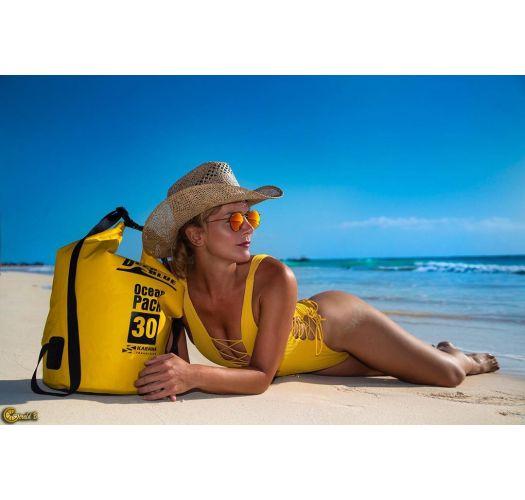 Цельный текстурированный купальник желтого цвета с декольте со шнуровкой - INTERLACED BANANA COSTA DEL SOL