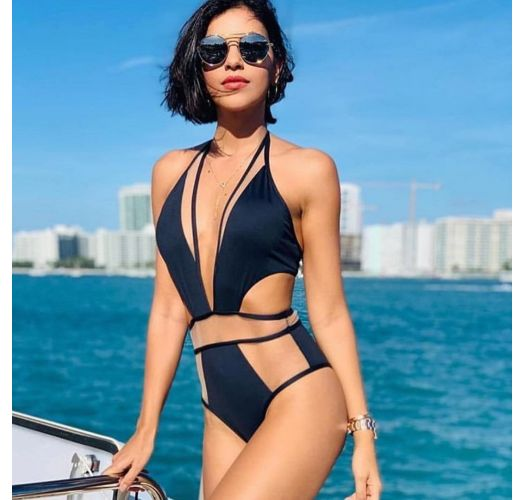 Sexy black swimsuit with transparency - BODY TULE PRETO