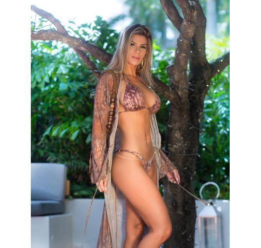 Brown animal print long beach kaftan - MAXI CHEMISE CAMEL