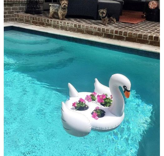 Inflatable glass-holder in the shape of a swan - GROOVY SWAN