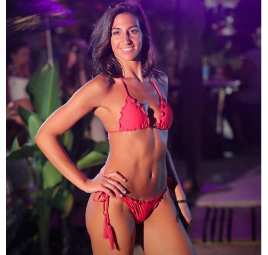 Röd, rynkad bikini med tofsar, vågiga kanter - AMBRA FRUFRU URUCUM