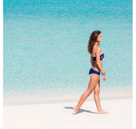 Blau/goldene Bikinihose mit Spitze - CALCINHA WANTED LACE