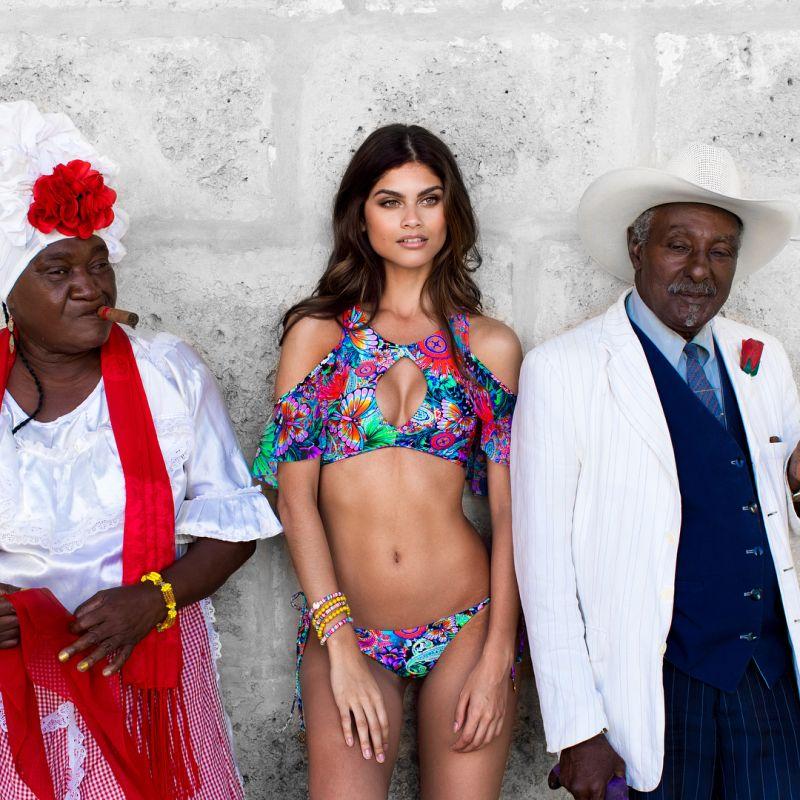 Crop top bikini with flounces and cut-out bottom with rhinestones - VIVA CUBA BONITA