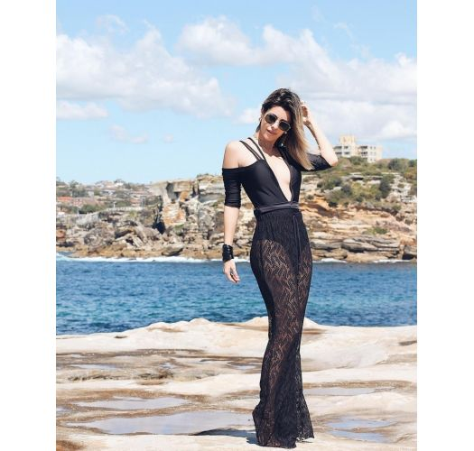 Black one-piece swimsuit with sleeves and decorative strapwork - MAIO MANGA PRETO